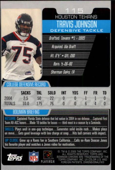 2005 Bowman Chrome #115 Travis Johnson RC back image