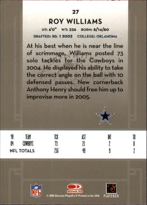 2005 Donruss Classics #27 Roy Williams S back image