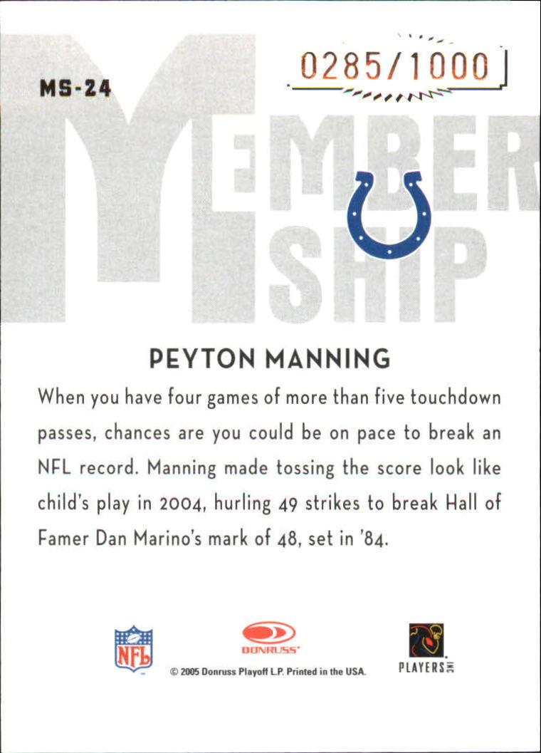 2005 Donruss Classics Membership Bronze #MS24 Peyton Manning back image