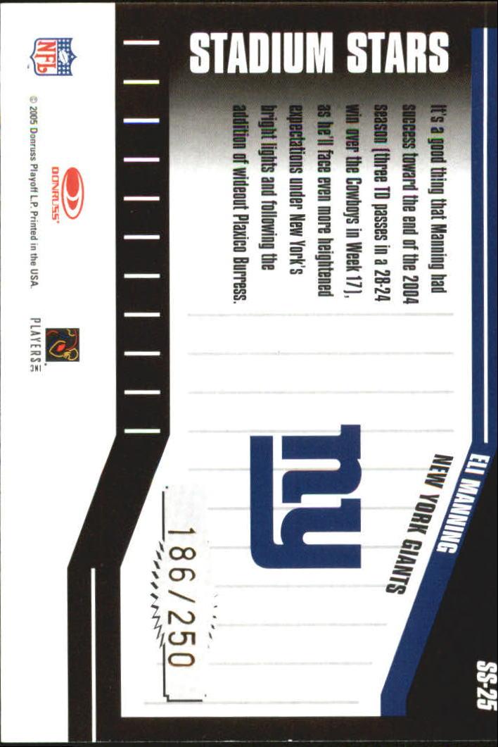 2005 Donruss Classics Stadium Stars 20 Yard Line Gold #25 Eli Manning back image