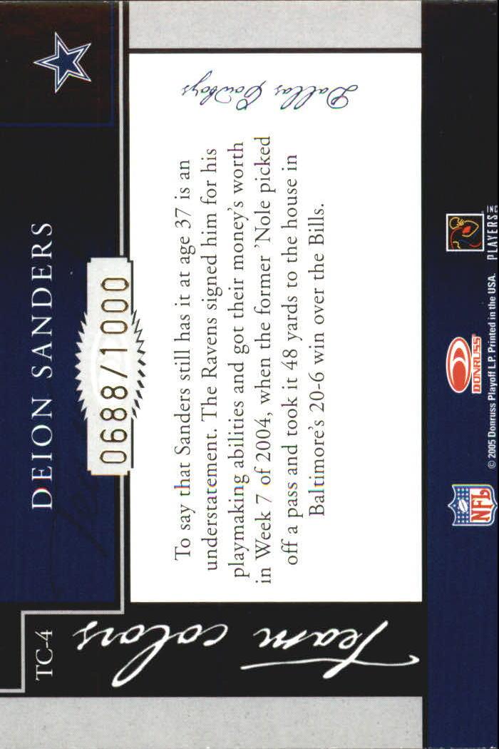 2005 Donruss Classics Team Colors Bronze #TC4 Deion Sanders back image
