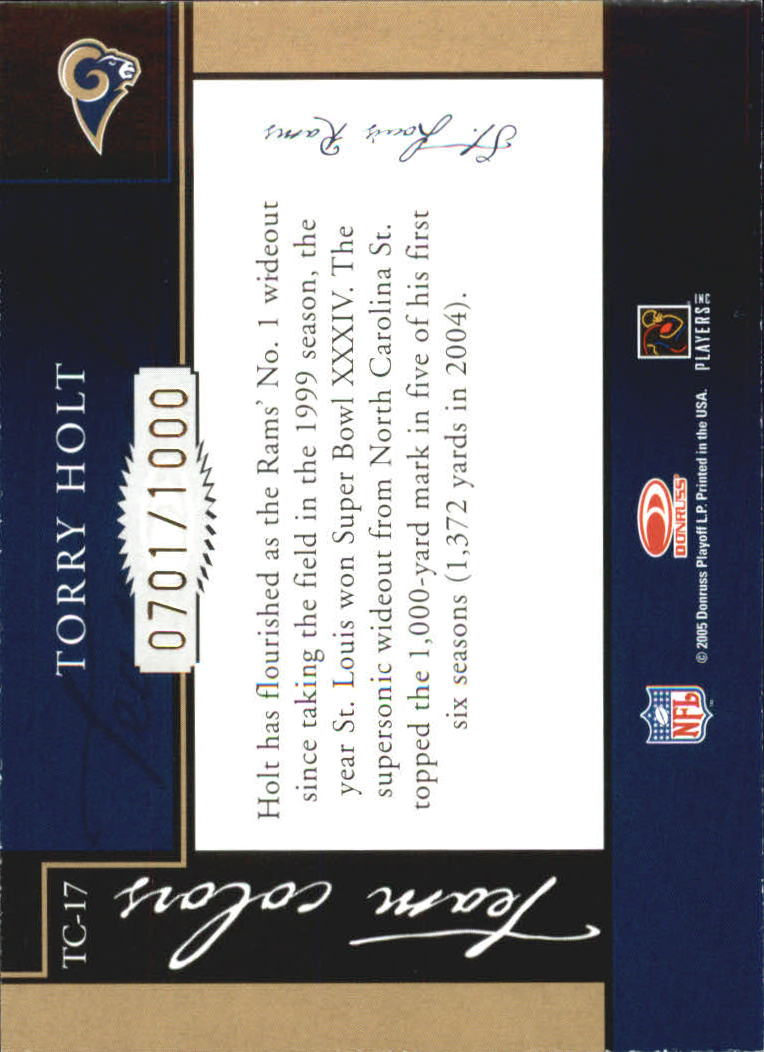 2005 Donruss Classics Team Colors Bronze #TC17 Torry Holt back image