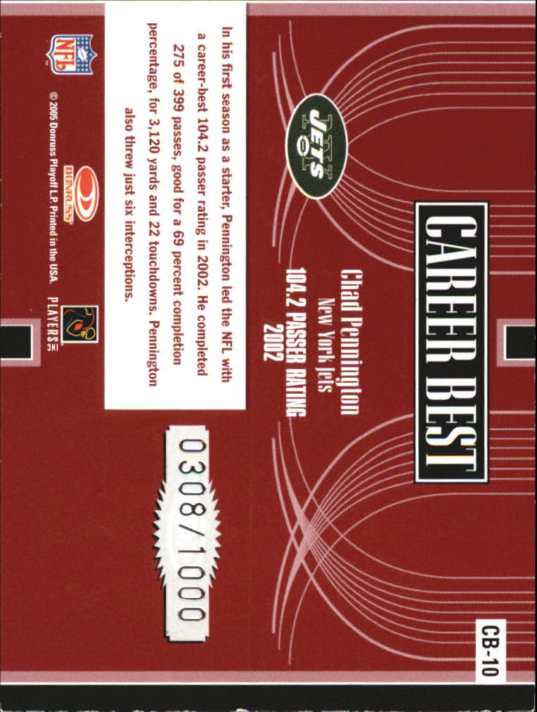 2005 Donruss Elite Career Best Red #CB10 Chad Pennington back image