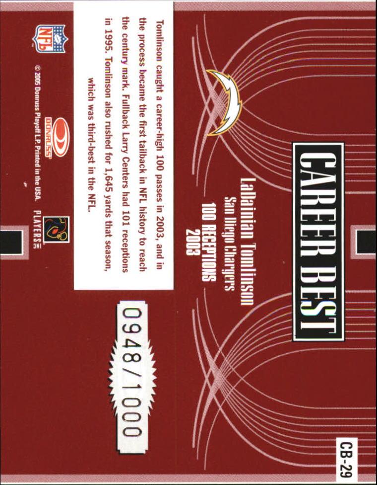 2005 Donruss Elite Career Best Red #CB29 LaDainian Tomlinson back image