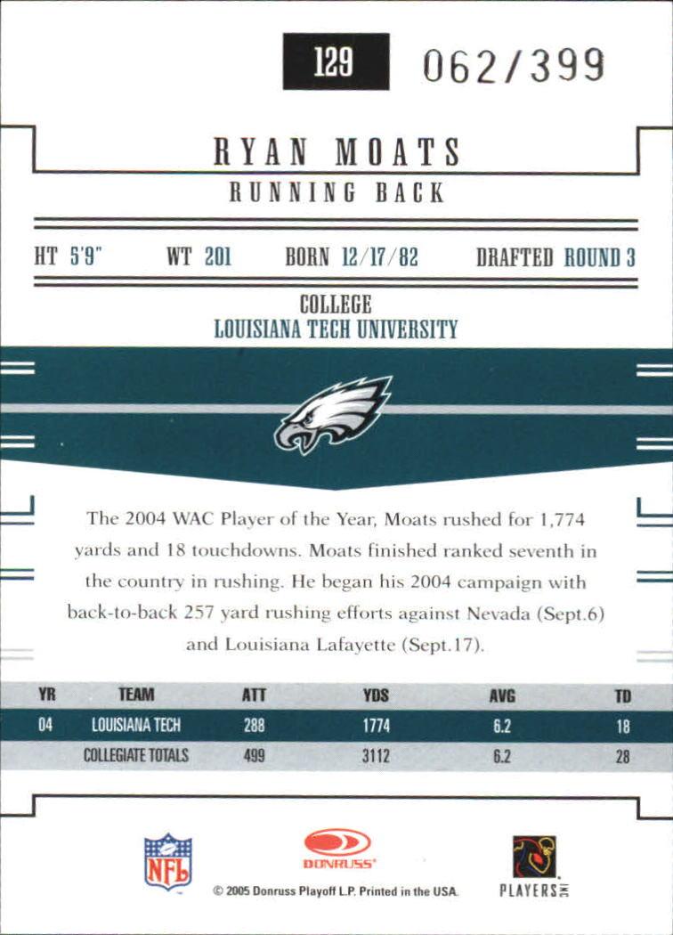 2005 Donruss Gridiron Gear #129 Ryan Moats RC back image