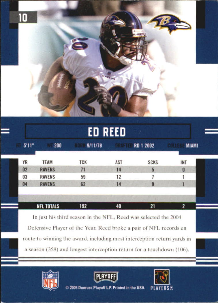 2005 Playoff Prestige #10 Ed Reed back image