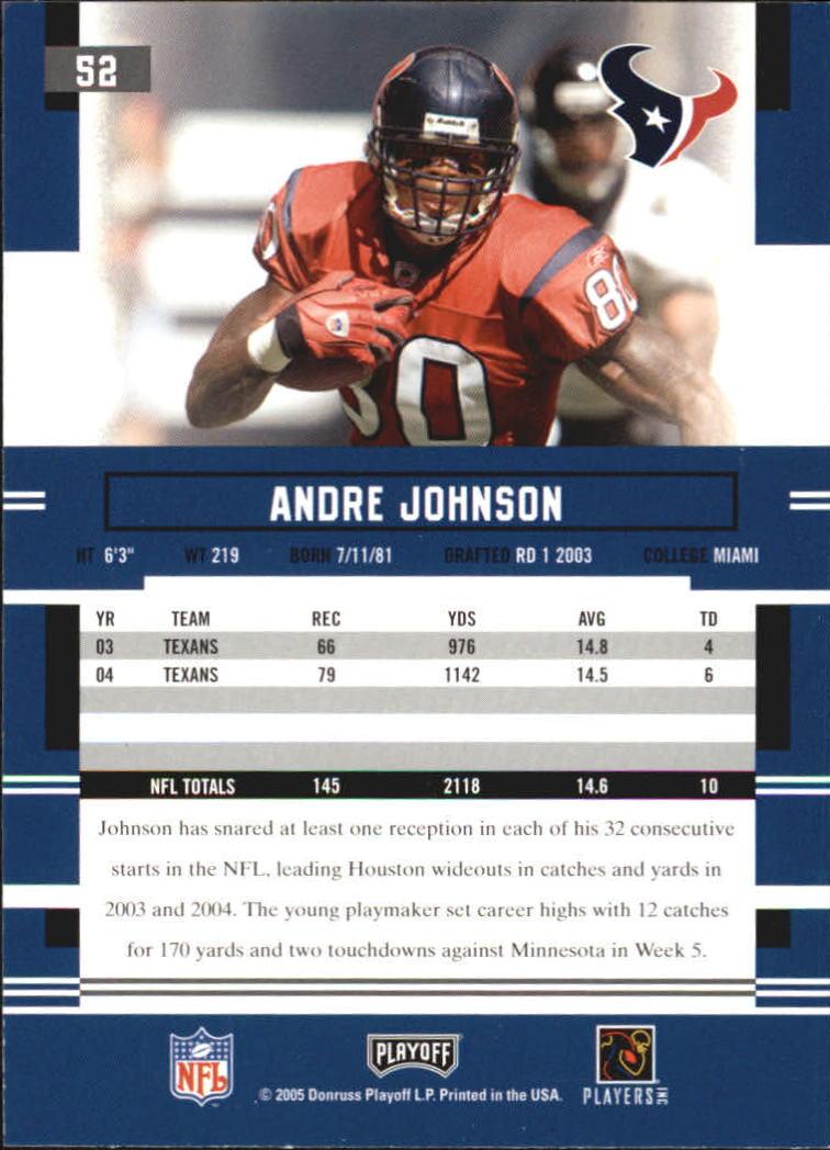 2005 Playoff Prestige #52 Andre Johnson back image