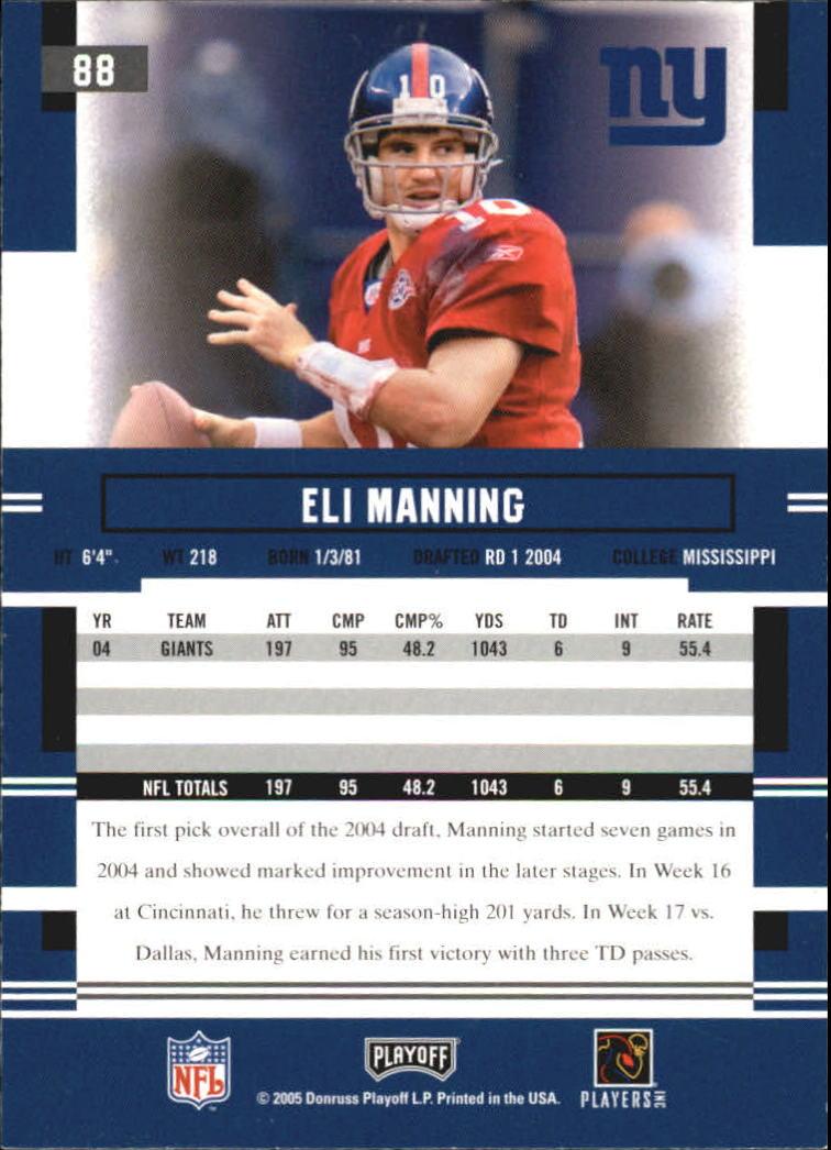 2005 Playoff Prestige #88 Eli Manning back image