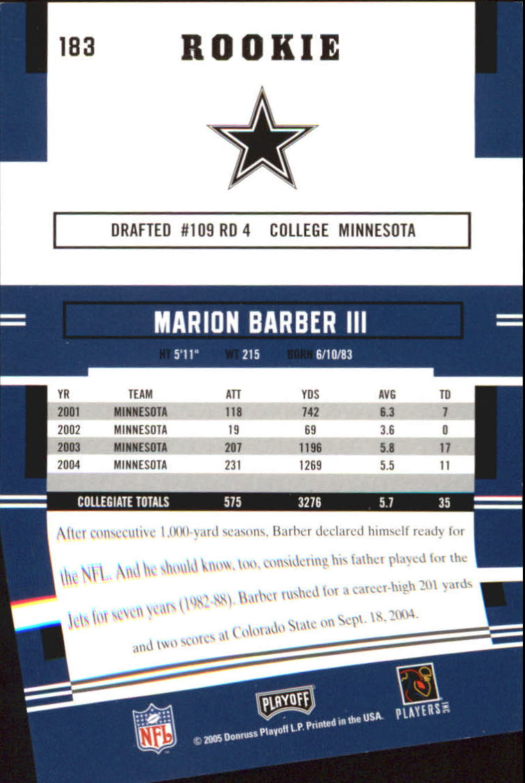 2005 Playoff Prestige #183 Marion Barber RC back image