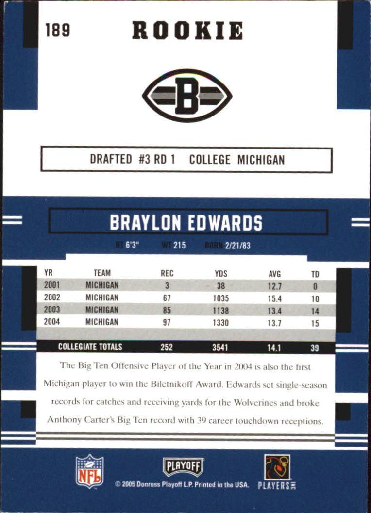 2005 Playoff Prestige #189 Braylon Edwards RC back image