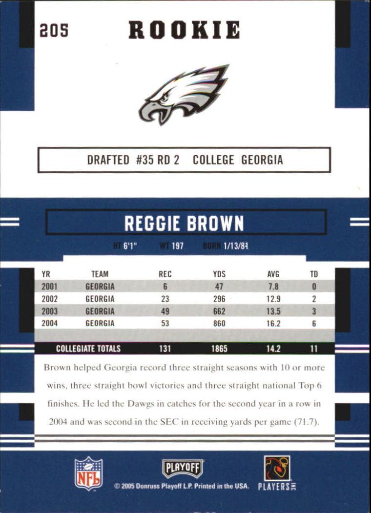 2005 Playoff Prestige #205 Reggie Brown RC back image
