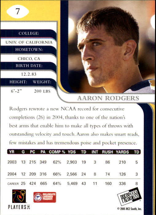 2005 Press Pass SE #7 Aaron Rodgers back image