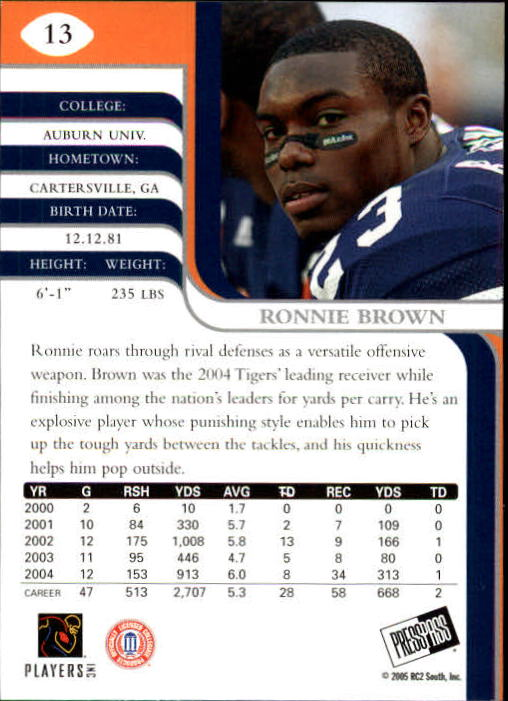 2005 Press Pass SE #13 Ronnie Brown back image