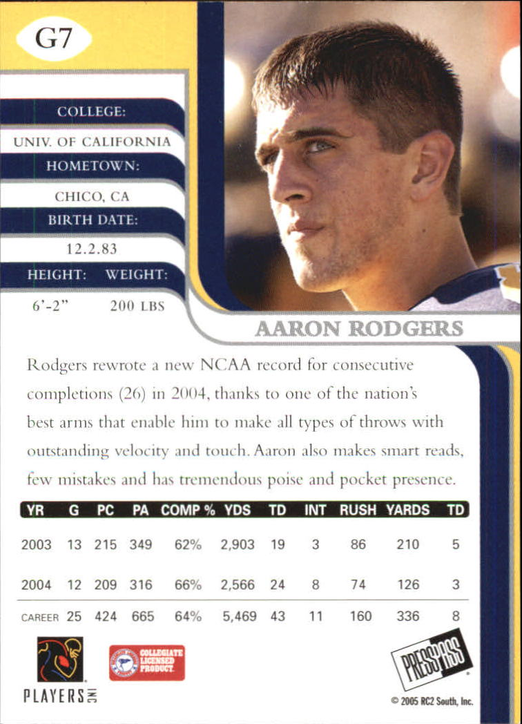 2005 Press Pass SE Gold #7 Aaron Rodgers back image
