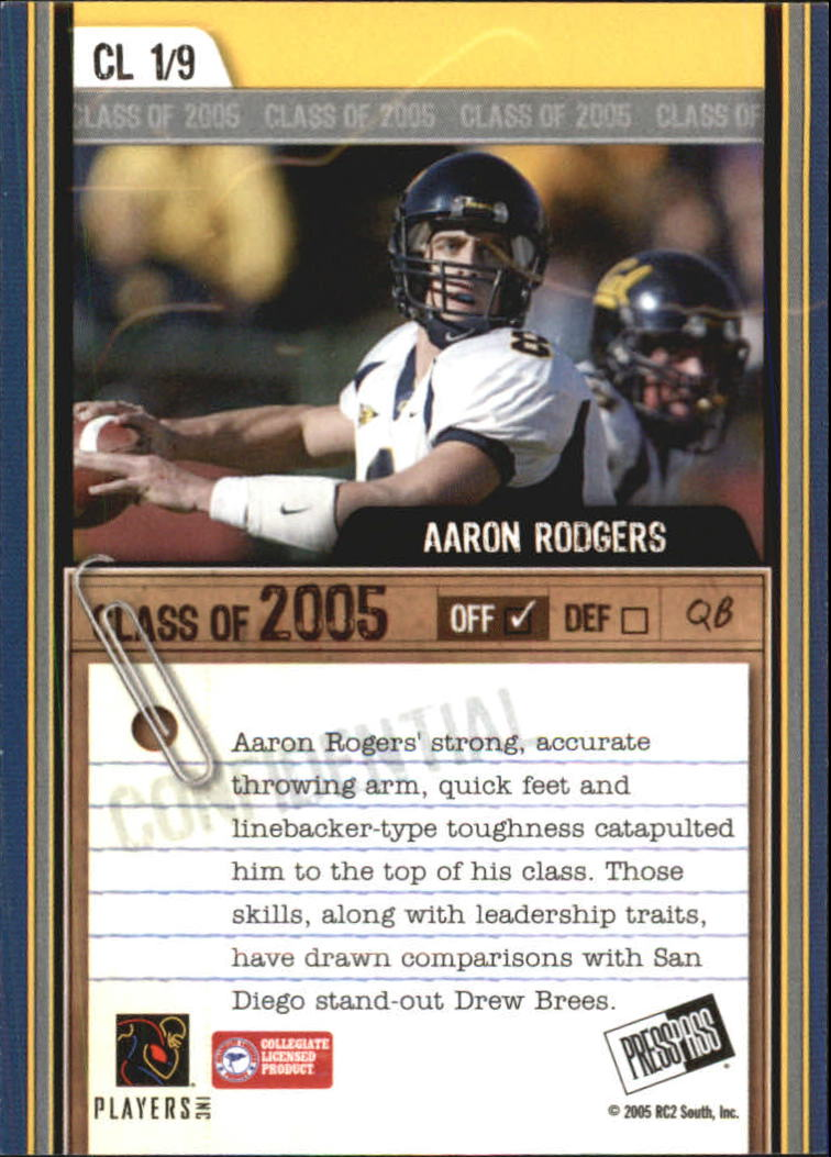 2005 Press Pass SE Class of 2005 #CL1 Aaron Rodgers back image