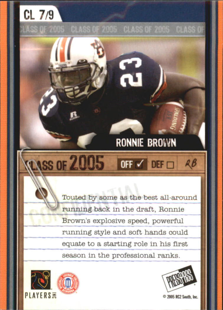 2005 Press Pass SE Class of 2005 #CL7 Ronnie Brown back image