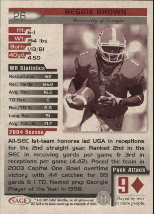 2005 SAGE HIT #26 Reggie Brown back image