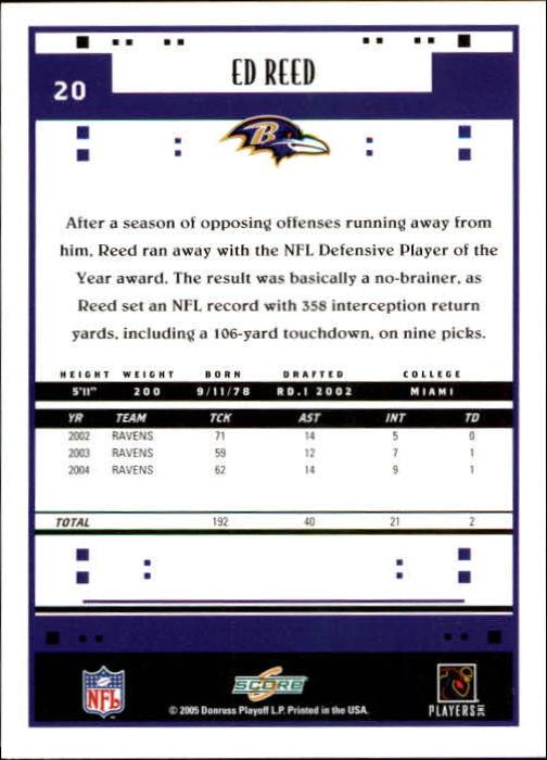2005 Score #20 Ed Reed back image