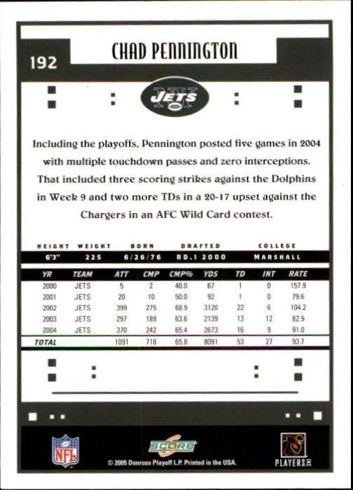2005 Score #192 Chad Pennington back image