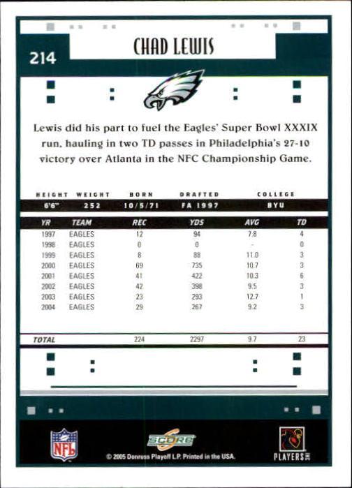 2005 Score #214 Chad Lewis back image