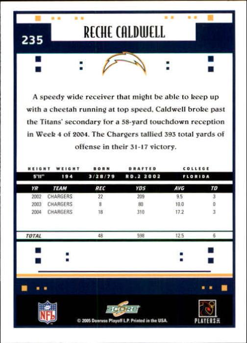 2005 Score #235 Reche Caldwell back image