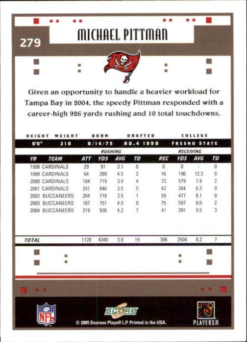 2005 Score #279 Michael Pittman back image