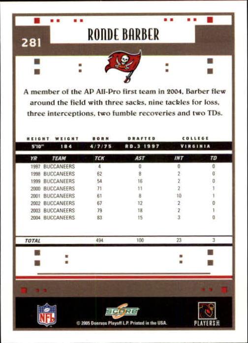 2005 Score #281 Ronde Barber back image