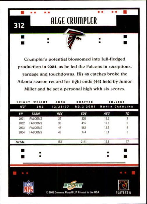 2005 Score #312 Alge Crumpler PB back image