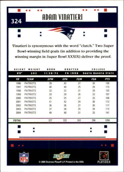 2005 Score #324 Adam Vinatieri PB back image