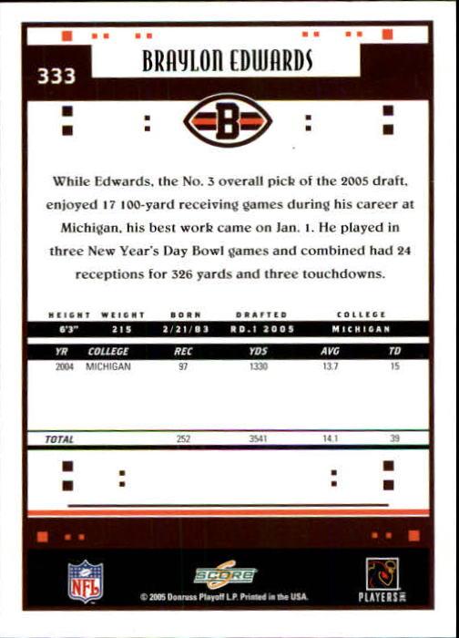 2005 Score #333 Braylon Edwards RC back image