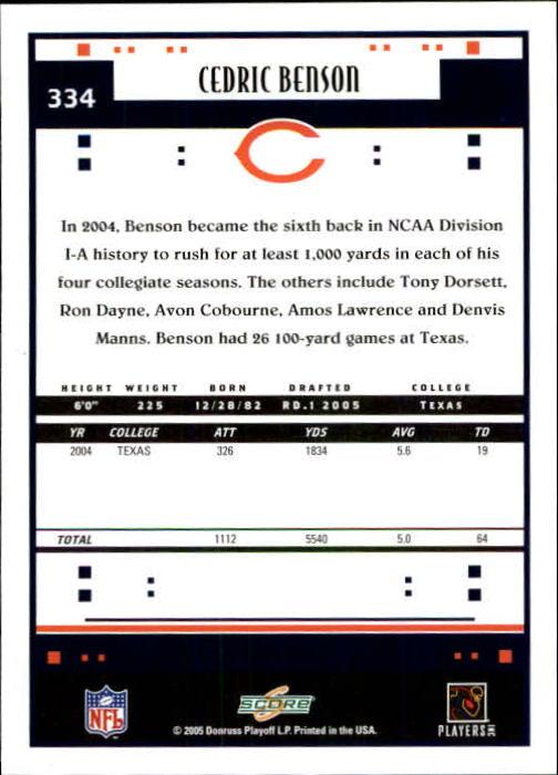 2005 Score #334 Cedric Benson RC back image