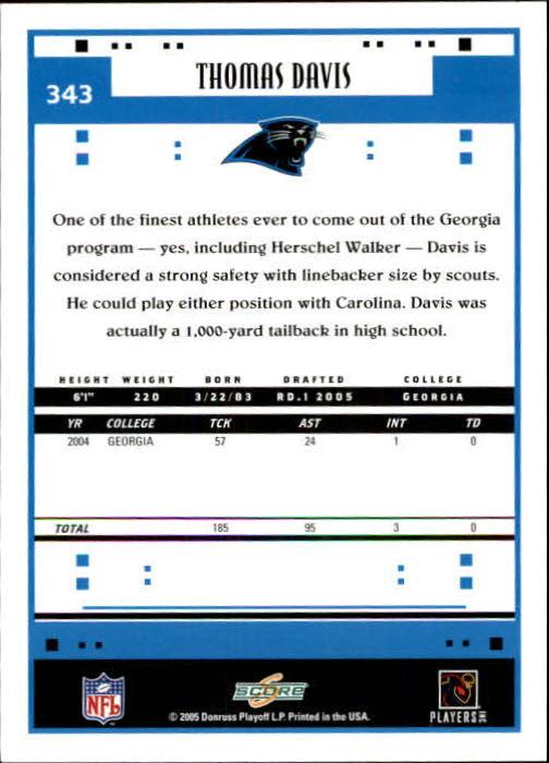 2005 Score #343 Thomas Davis RC back image