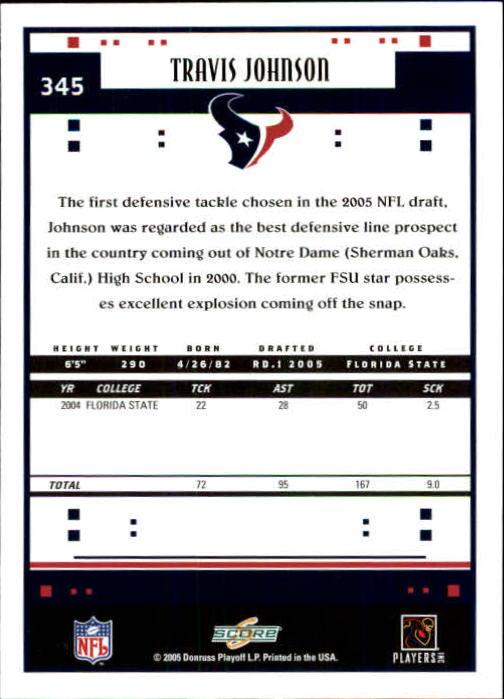 2005 Score #345 Travis Johnson RC back image