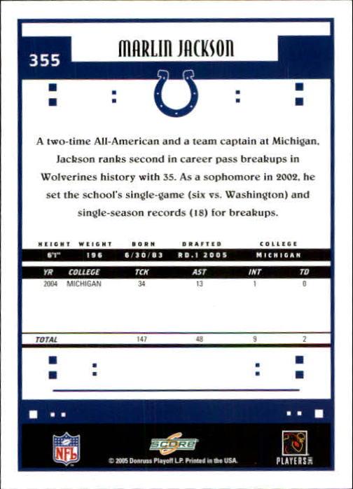 2005 Score #355 Marlin Jackson RC back image