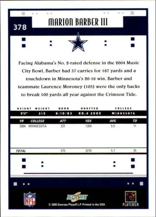 2005 Score #378 Marion Barber RC back image