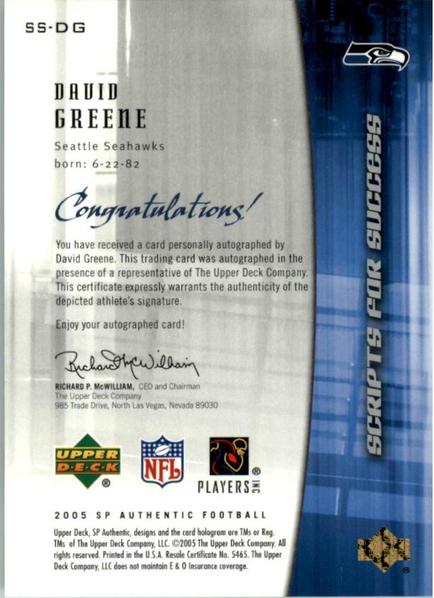 2005 SP Authentic Scripts for Success Autographs #SSDG David Greene back image