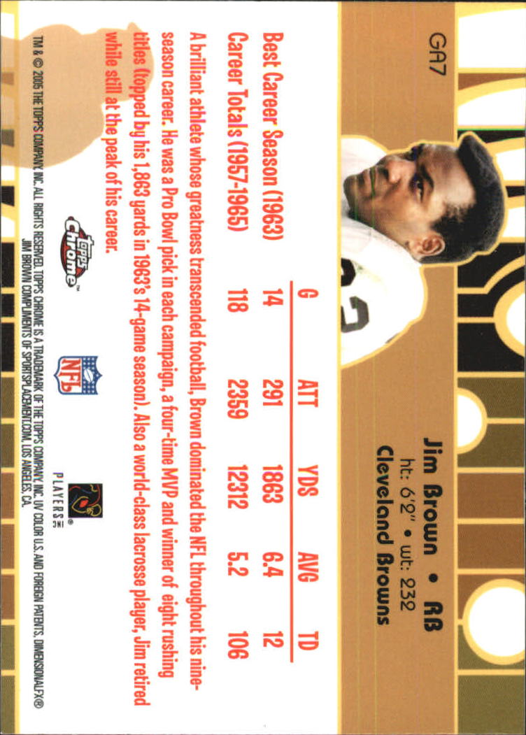 2005 Topps Chrome Golden Anniversary Golden Greats #GA7 Jim Brown back image