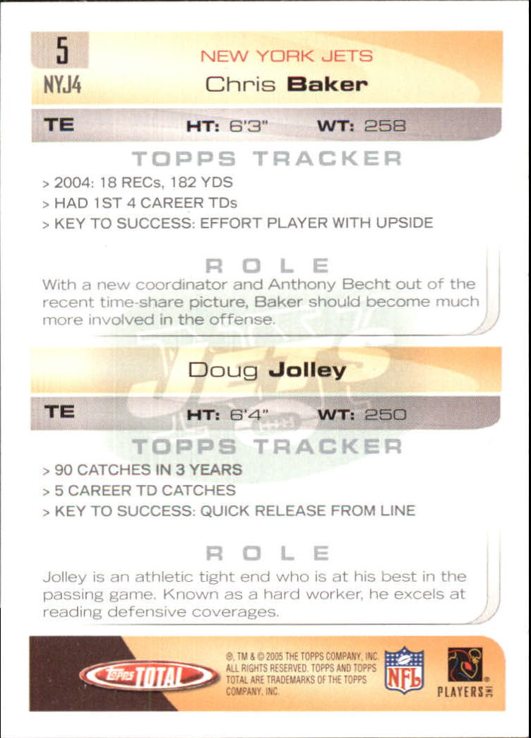 2005 Topps Total Silver #5 Doug Jolley/Chris Baker back image
