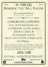 2005 Topps Turkey Red Relics Red #TRRDD Domanick Davis back image