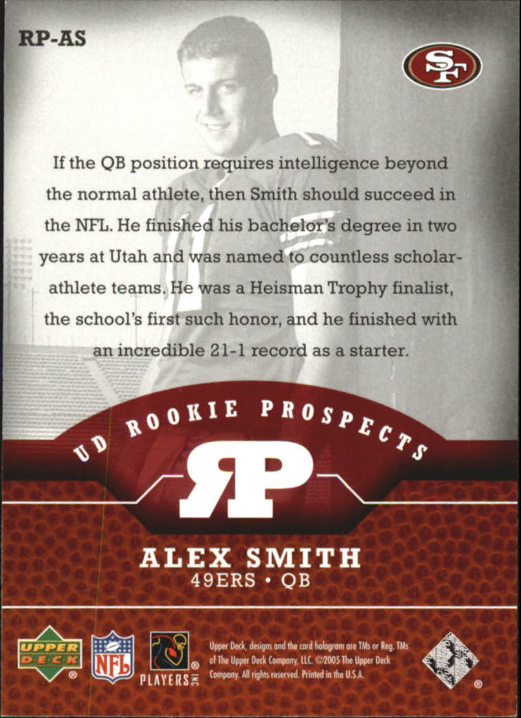 2005 Upper Deck Rookie Prospects #RPAS Alex Smith QB back image
