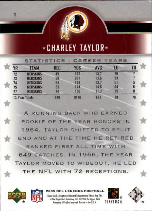 2005 Upper Deck Legends #1 Charley Taylor back image