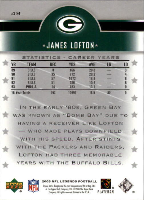 2005 Upper Deck Legends #49 James Lofton back image