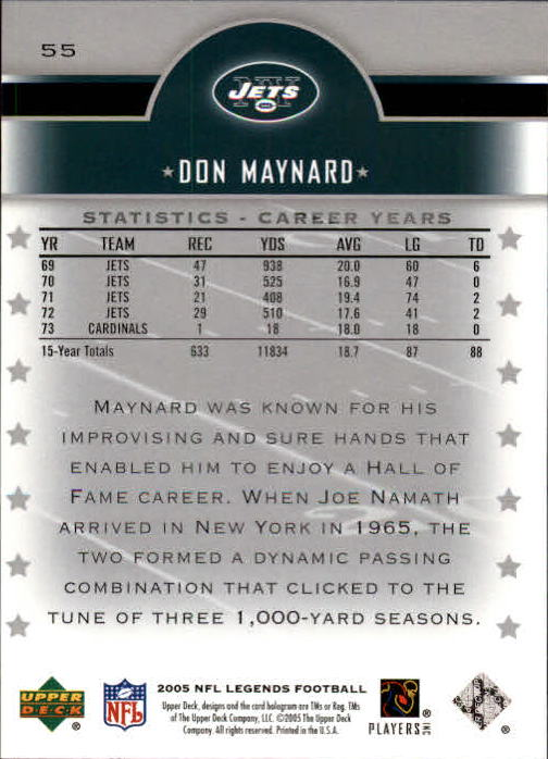 2005 Upper Deck Legends #55 Don Maynard back image