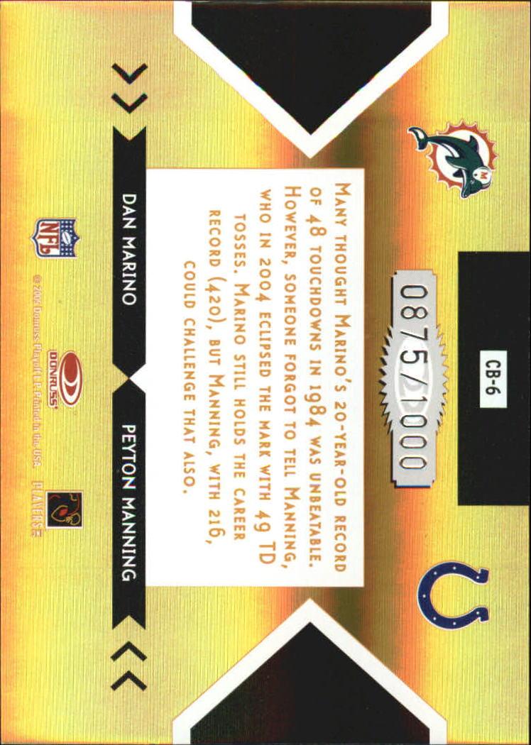 2005 Donruss Elite Face 2 Face Gold #CB6 Dan Marino/Peyton Manning back image