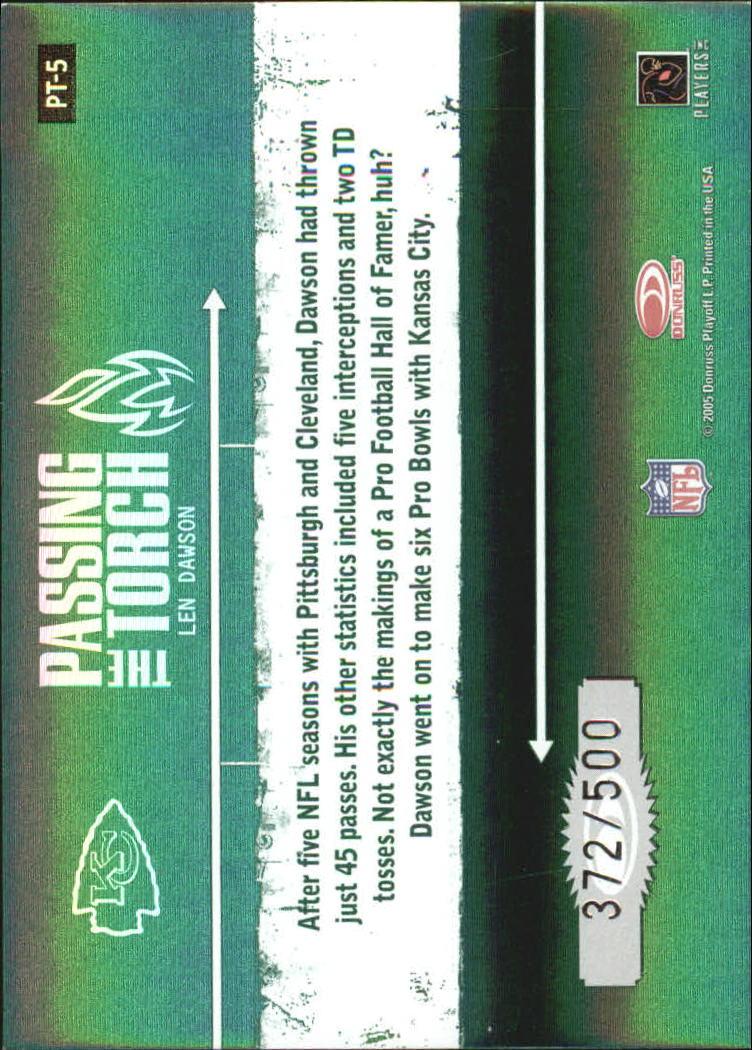 2005 Donruss Elite Passing the Torch Green #PT5 Len Dawson back image
