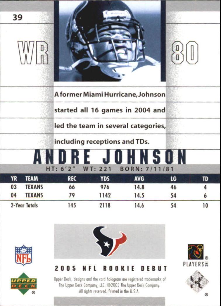 2005 Upper Deck Rookie Debut #39 Andre Johnson back image
