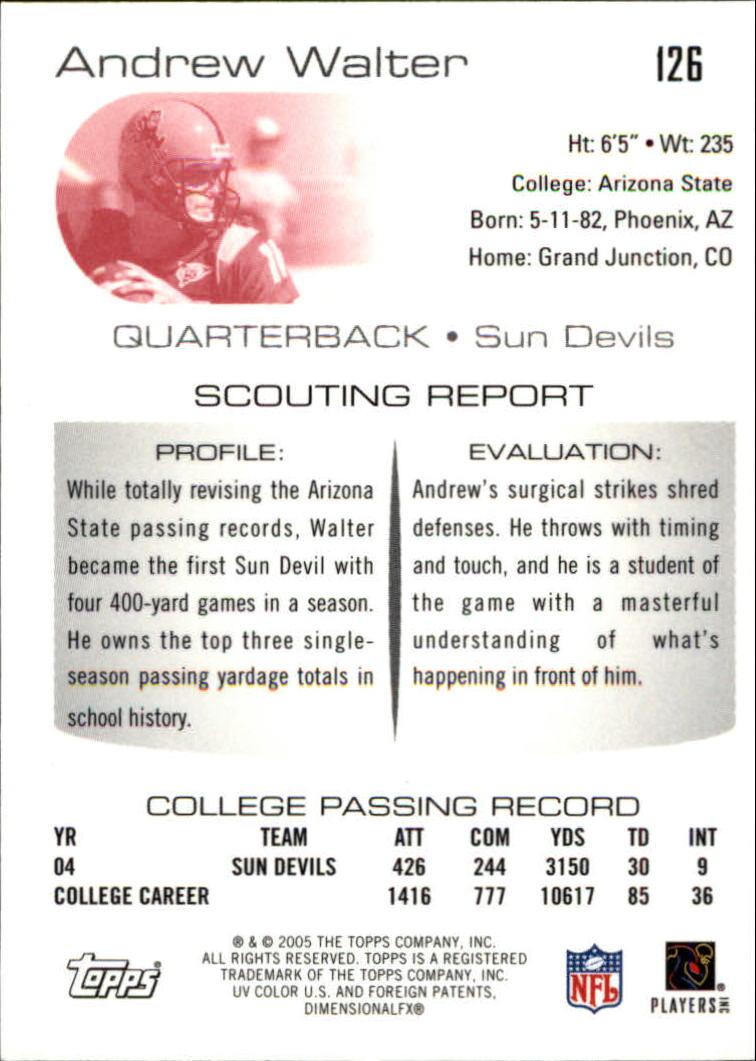 2005 Topps Draft Picks and Prospects Chrome #126 Andrew Walter back image