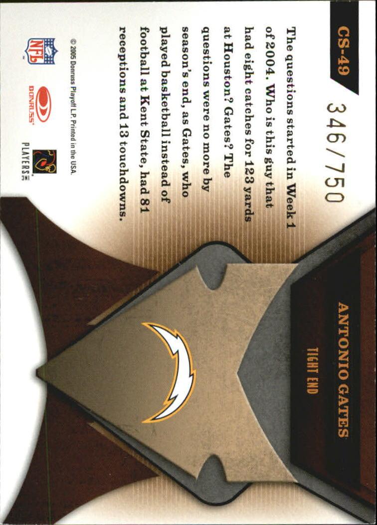 2005 Leaf Certified Materials Certified Skills #49 Antonio Gates back image