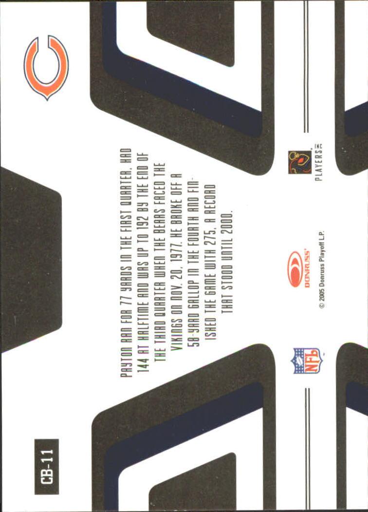 2005 Zenith Canton Bound Silver #CB11 Walter Payton back image