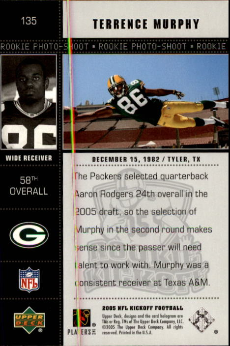 2005 Upper Deck Kickoff #135 Terrence Murphy RC back image
